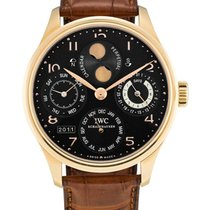 IWC , Pink Gold Perpetual Calendar Wristwatch With 7-day power...