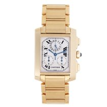 Cartier Tank Française pre-owned 28mm White Chronograph Yellow gold