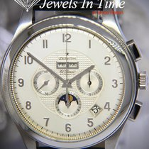 Zenith El Primero Chronograph pre-owned 44mm Silver Moon phase Chronograph Date Month Leather
