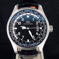 IWC Pilot Worldtimer Stål 45mm Svart Arabiska