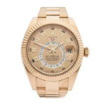 Rolex Yellow gold Automatic Champagne 42mm pre-owned Sky-Dweller