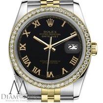 Rolex Lady-Datejust Or/Acier 31mm Noir Romain