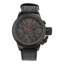 TW Steel Men's Canteen Black Dial  Leather Chronograph Analog...
