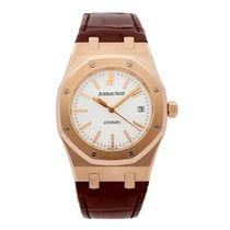 Audemars Piguet Royal Oak Rose Gold White Dial Alligator Strap...