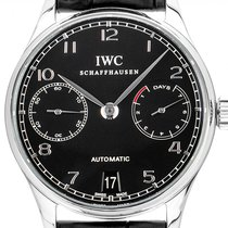 IWC Portugieser Automatik gebraucht 42mm Schwarz Datum Leder