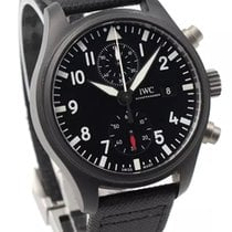 IWC Pilot Chronograph Top Gun pre-owned 44mm Black Chronograph Date Leather