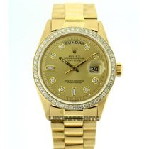Rolex Day-date Men's 36mm Custom Set Diamonds Dial 18k...