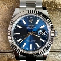 Rolex Datejust Ii Stainless 18k White Gold 116334 Blue Dial W/...