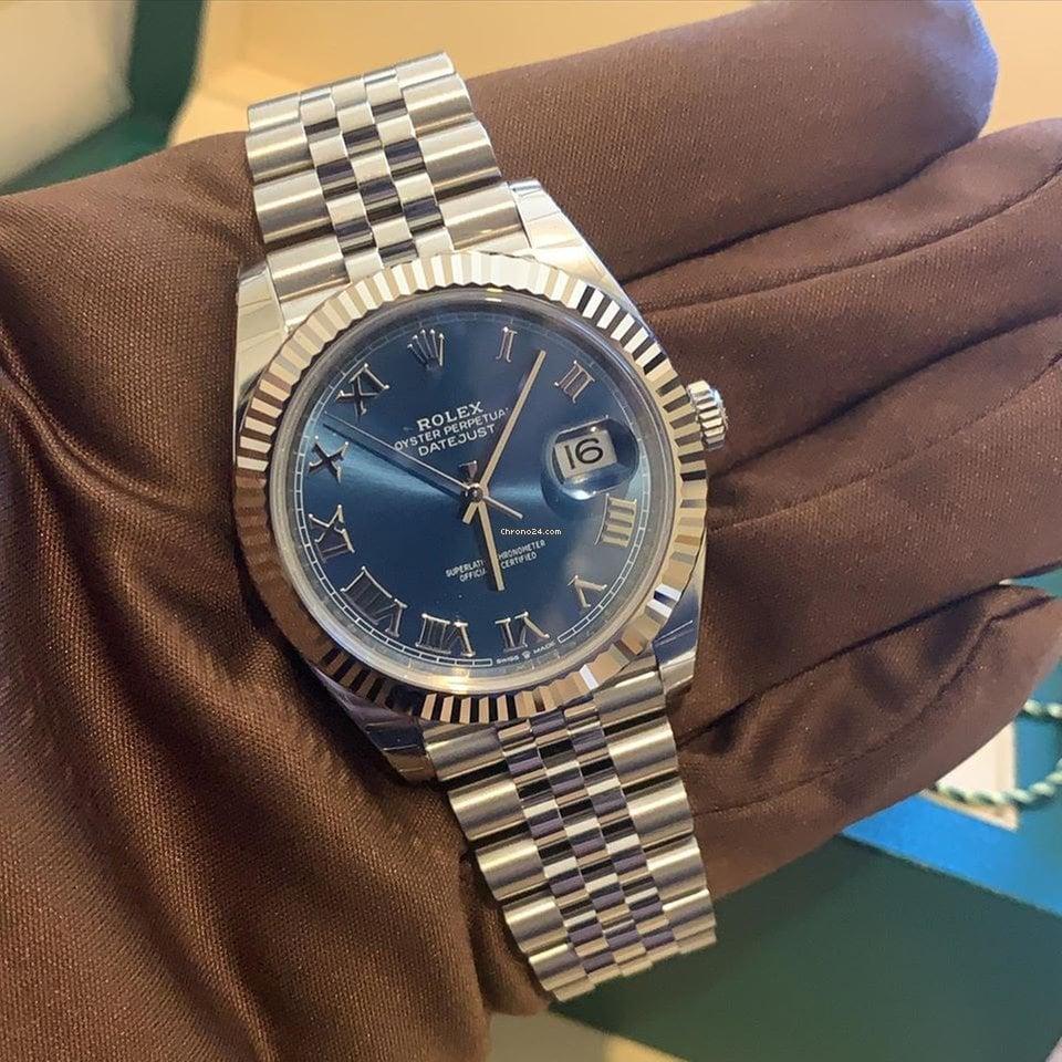 Rolex Datejust 41 126334 Blue Roman Dial Jubilee Bracelet Unworn