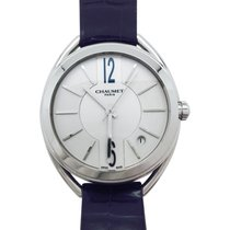 "Chaumet watch ""Liens"" stainless steel and leather."
