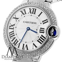 Cartier Ballon Bleu W69011z4 37mm Mid-size Watch Pave Diamond...