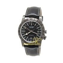 Glycine Airman GL0246 - Glycine AIRMAN N1 The Chief Nero Pelle 40mm GMT nieuw