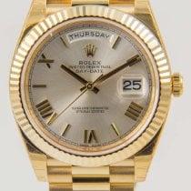 Rolex Day-Date 40 Gelbgold 40mm Silber Römisch