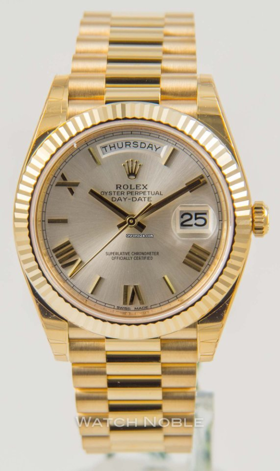 18k Yellow Gold Rolex Day Date Ii 218238 41mm Champagne With Red Roman Numerals Dial With 2175ct Diamonds