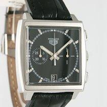 TAG Heuer Monaco gebraucht 38mm Silber Chronograph Datum Krokodilleder