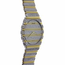 Piaget Polo 18k Solid Yelllow White Gold Mens Watch Fully Pave...