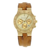 Bulgari Diagono CH35G Chronograph 18K Yellow Gold & Leather...