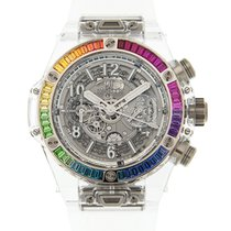恒寶 Big Bang 18k White Gold Silver Automatic 411.JX.4803.RT.4099