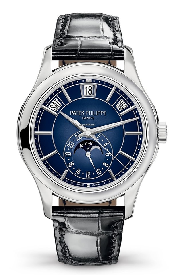 Patek Philippe Complications Moonphase 18k White Gold Men S Watch 5205g 013