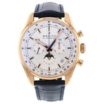 Zenith El Primero 410 pre-owned 42mm Silver Moon phase Chronograph Date Weekday Month Crocodile skin