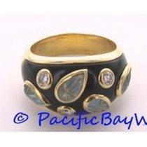 Cartier Enamel Diamond Carved Aqua Dome Ring