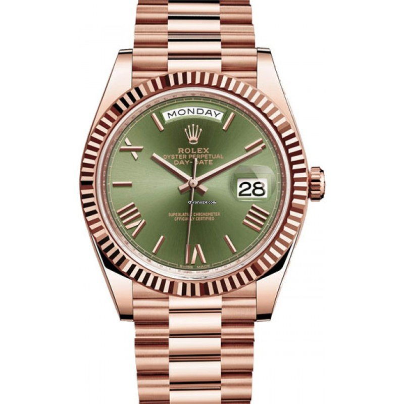 Rolex Day,Date 40 Rose Gold President Green Roman Dial