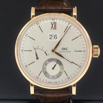 IWC Portofino Hand-Wound pre-owned 45mm Gold Date Leather