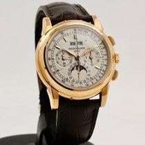 Patek Philippe Perpetual Calendar Chronograph Růžové zlato 40mm Stříbrná Bez čísel
