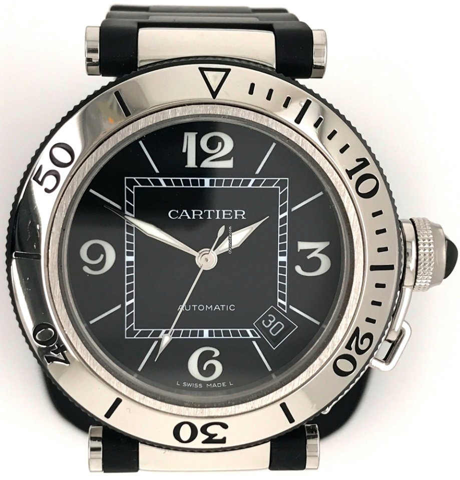 Dial Preowned Black Cartier 5mm Steel Seatimer Stainless Pasha 40 BerEQxoWdC