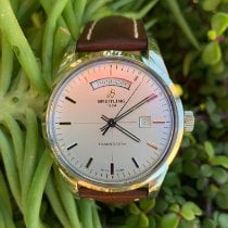Breitling Transocean Day & Date pre-owned 43mm Silver Date Weekday Leather