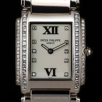 Patek Philippe 18k W/G Diamond Ladies Twenty-4 Wristwatch...