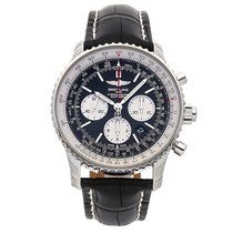 Breitling Navitimer Rattrapante pre-owned 45mm Black Chronograph Date Crocodile skin
