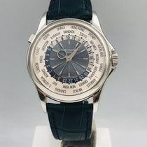 Patek Philippe Platin Automatik Blau Arabisch 39,5mm gebraucht World Time