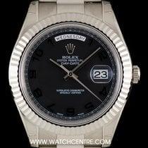 Rolex 18k W/G Unworn O/P Black Arabic Dial Day-Date II B&P 218239