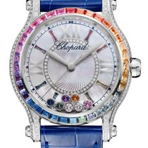 Chopard Happy Sport 18K White Gold, Sapphires & Diamonds...