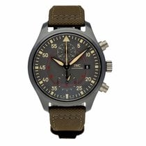 IWC Pilot Chronograph Top Gun Black Ceramic Green Leather Men...