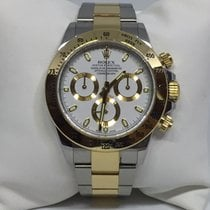 Rolex Daytona 116523 18k Yellow Gold and Steel White Dial
