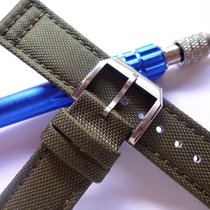 bodhy 21mm Green Canvas Band Buckle - Nylon and Leather Back...