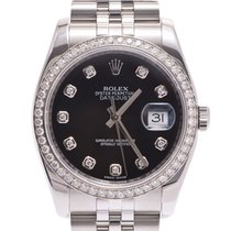 Rolex Datejust black letter board 10P diamond 116244G Women's...