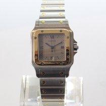 Cartier Santos Galbée Золото/Cталь 29mm Cерый Римские
