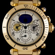 カルティエ (Cartier) 18k Yellow Gold Three Time Zone Pasha Gents...
