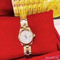 Rolex Oyster Perpetual Lady Date Žluté zlato 26mm Bílá Bez čísel