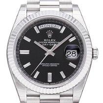 Rolex Day-Date 40 18 kt Weißgold Schwarz DIA 228239