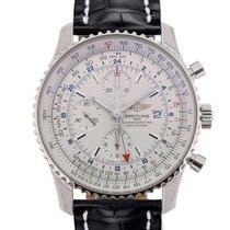 Breitling Navitimer World 46 Chronograph Silver Dial Black...