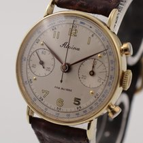 Alpina Yellow gold Manual winding White 32mm pre-owned