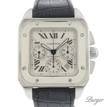 Cartier Santos 100 Steel 41.2mm Silver Roman numerals