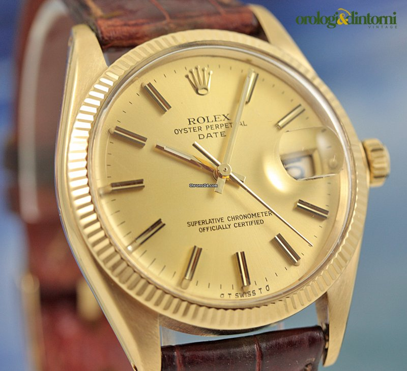 2d6c2f522eb4 Rolex Date 18K Solid Gold 34mm Automatic Mens Watch Brown Leather sold on  Chrono24