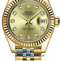Rolex Or jaune Remontage automatique Champagne 28mm nouveau Lady-Datejust