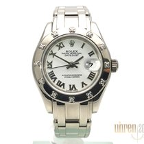 Rolex Lady-Datejust Pearlmaster Witgoud 29mm Wit Romeins