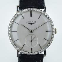 Longines White gold Manual winding Silver No numerals 32.5mm pre-owned